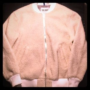 Men's Jacket Imitation Sherpa Cream Colored Size L